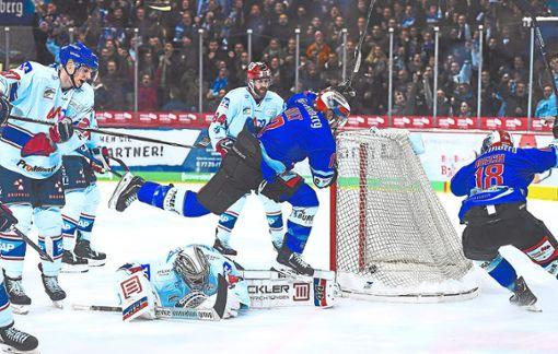 Die Wild Wings, hier Andreé Hult, wollen nach dem 4:0 gegen Mannheim auch bei den Haien überraschen. Foto: Kienzler