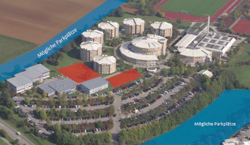 Die rot eingezeichnete Fläche zeigt die geplanten Hörsaal-und Bürogebäude der Hochschule für Polizei in Villingen-Schwenningen.  Foto: Hochschule für Polizei