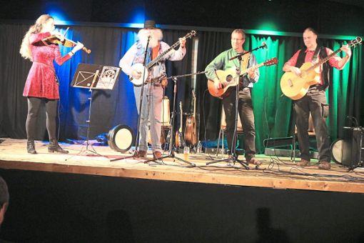 Tangled Twigs (von links) mit Roswita Schmidt, Paddy Tinsley, Thomas Szejnmann und Tom Brünle entführt mit ihren musikalischen Weisen auf die grüne Insel.  Foto: Hoffmann Foto: Schwarzwälder Bote