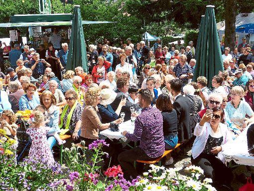 Schon zur Eröffnung des Heidelbeerfestes in Enzklösterle am Samstagnachmittag hatten sich zahlreiche Gäste eingefunden. Foto: Zielgelbauer
