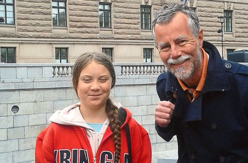Peter Albert mit Greta Thunberg in Stockholm. Foto: Privat
