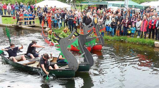 Zahlreiche Zuschauer verfolgen das Rennen der Drachenboote. Die Besatzungen geben alles.  Fotos: Gukelberger Foto: Schwarzwälder Bote
