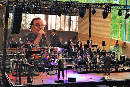 Gleich dopptelt, auf der Leinwand und auf der Bühne, ist Klaus Lage beim Konzert mit der Big Band der Bundeswehr in Geislingen zu erleben.   Foto: Breisinger Foto: Schwarzwälder Bote