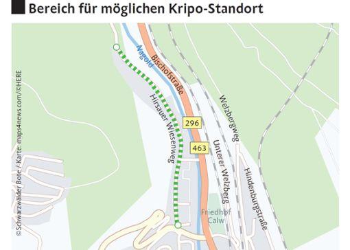 Wo genau im Wiesenweg das Gebäude entstehen könnte, ist dagegen derzeit noch nicht bekannt. Foto: © Schwarzwälder Bote / Karte: maps4news.com/©HERE