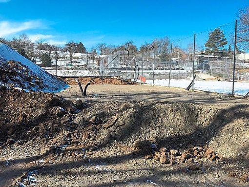 Rund 300 Kubikmeter Erde wurden abgetragen, um eine Fläche für die Hütte  zu schaffen.  Foto: Boulefreunde Foto: Schwarzwälder Bote