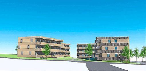 Die Stiftung Hoffnungsträger plant, vier Gebäude mit 32 Wohnungen in der Waldsiedlung auf dem Wimberg zu errichten.    Grafik: andOFFICE