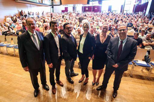 Überwältigend war in Villingen-Schwenningen der Andrang bei der ersten Podiumsdiskussion mit den sechs OB-Kandidaten. Foto: Marc Eich